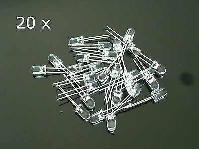 20 x WHITE 5MM LED Light Clear Super Bright Light Emitting Diodes Lens Bulb