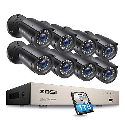 ZOSI 8CH 1080p HDMI DVR Security System 1TB HDD 720p Outdoor Bullet CCTV Camera