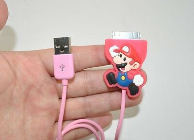 Cute Super Mario Bros Cartoon USB Data Line Charging Cable for iPhone 4 4s
