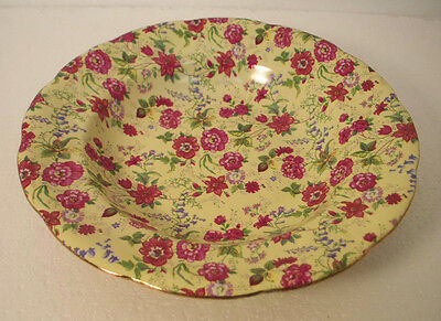 Charlotte China (Made In China) Soup Bowl Pink Chintz Flowers  Yellow Background