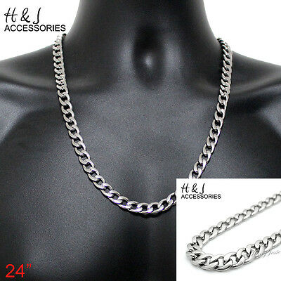 "18-40""MEN 316 L Stainless Steel 8.5mm Silver Cuban Curb Link Chain Necklace"