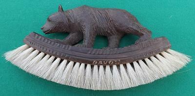 ANTIQUE CARVED WOODEN GERMAN BLACK FOREST BEAR BRUSH CLOTHES - DAVOS?