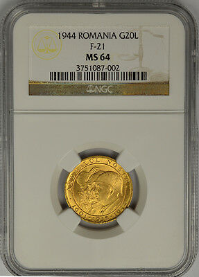 1944 Romania, 20 Lei Gold. NGC MS 64. F-21. 3 Kings