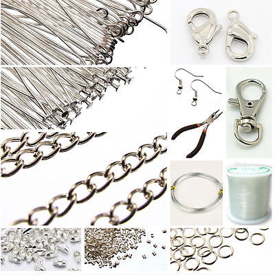Silver Jewellery Making Components Starter Kit Tools Cords Assorted DIY Findings