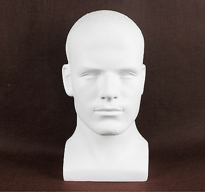 White Fiberglass Male Mannequin Head Bust For Wig, Sunglass And Hat Display