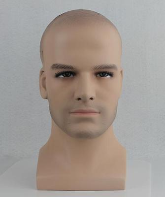Fiberglass Male Mannequin Head Bust For Wig, Sunglass And Hat Display