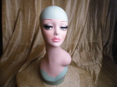 Female Fiberglass Hand Painted Mannequin Head For Wig And Hat Display