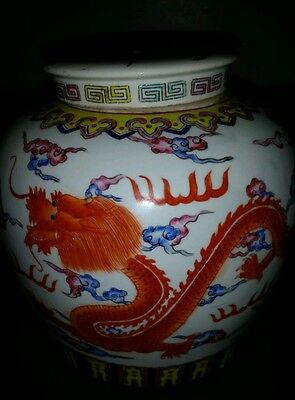 Antique Large Chinese Hand painted Enameled Porcelain GingerJar Peacock Dragon