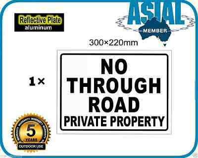 NO THROUGH ROAD Private Property Metal Aluminium Reflective Plate Metal Sign