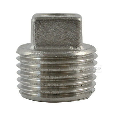 """1/2"""" Malleable Square Head Pipe Fitting Plug Threaded Male SS304 BSPT NEW"""