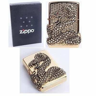Zippo Skull Snake Coil Gold Made in USA /GENUINE and ORIGINAL Packing