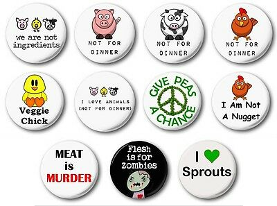 "VEGETARIAN (Various Designs) - 1"" / 25mm Button Badge - Novelty Cute Vegan"