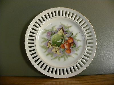 """8"""" Decorative Plate ~ Reticulated ~ Fruit Pattern ~ Gold Rim ~ Made in Japan"""