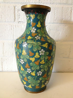 Antique Chinese Qing Dynasty Cloisonne Vase w/ Bottle Gourd Plant & Flower Dec.