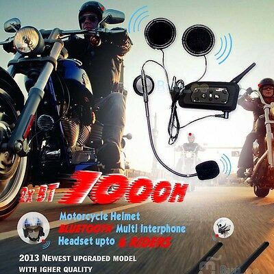2 x BT 1000M Motorcycle Helmet Bluetooth Intercom Headset Connects upto 6 riders