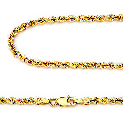 14k Yellow Gold 2.5mm Italy Rope Chain Twist Link Necklace 22 Inch New