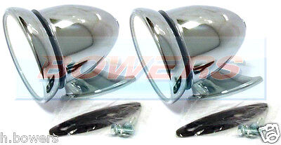 Pair Of Chrome Bullet Torpedo Exterior Wing Door Mirrors Classic Vintage Car