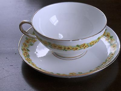 OLD Limoges France Wm Guerin Teacup and Saucer Yellow Wild Roses