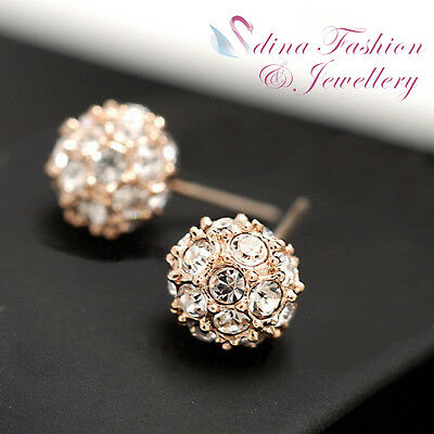 18K Rose Gold Plated Made With Swarovski Crystal Studded Ball Stud Earrings
