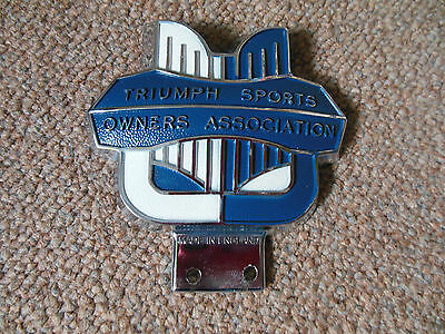 NOS Triumph Sports Owners Assocaition Badge Blue & White J Fray Mint