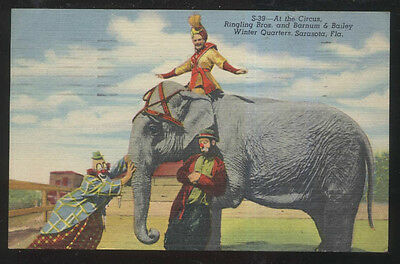 Postcard Ringling Bros Circus Clown Emmett Kelly With Elephant 1940's