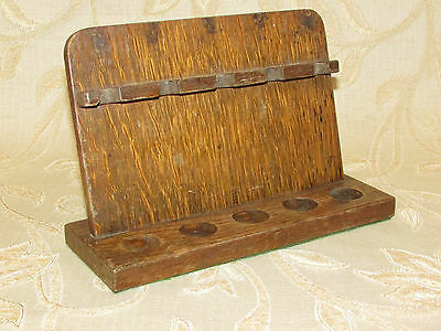 Vintage Hand Carved Wooden Smoking Pipe Rack / Stand For 5 Pipes