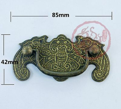Chinese Vintage Batman Bat Totem Cabinet Dresser Drawer Brass Handle Pull Knob