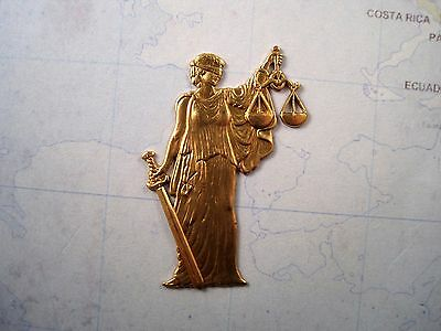 Raw Brass Lady Justice Stamping (1) - GB7041 Jewelry Finding