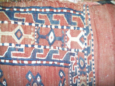 Antique Hand Knotted Turkoman Camelbag Pillow Poshti  Cushion 2.2 x 3.7