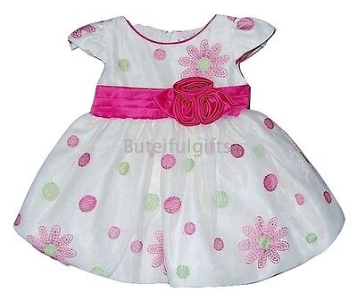 Baby Girls Cream Organza Floral Spotted Dress 3-24 Mth Party Occasion