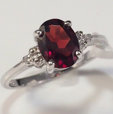 Genuine 1.39ct Garnet Diamond Accent Ring Solid 925 Sterling Silver Size 7