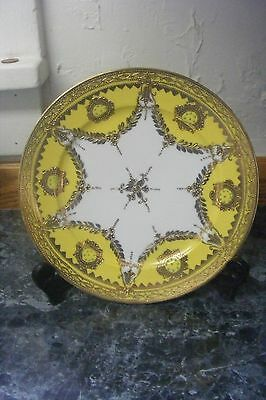 ANTIQUE YELLOW NIPPON 9 INCH HAND PAINTED PLATE CHARGER GOLD GILT MORIAGE HTF
