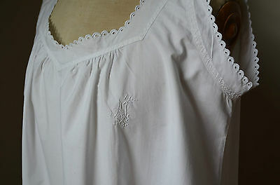 antique French hand embroidered shift or night dress