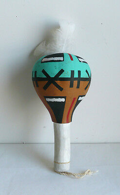 Native American Tribal Hopi Ceremonial Dance Gourd Rattle w Feathers