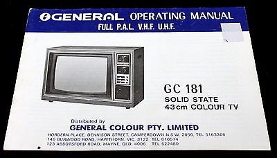 General Colour Pty Limited Gc 181 Solid State 43Cm Tv Operating Manual Mint Cond