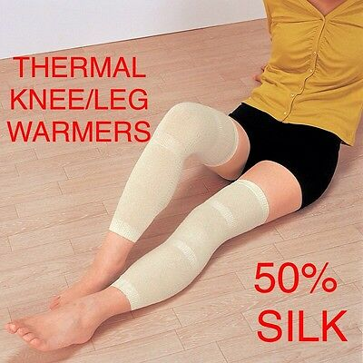 2 X SILK LADIES THERMAL Long 50cm  Knee Leg Elasticated One Size Warmer Supports