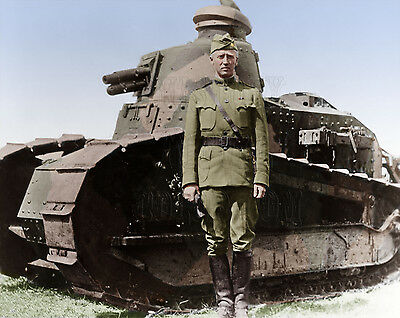General George Patton Color Tinted Photo World War I 2 WW1 WWI I10025