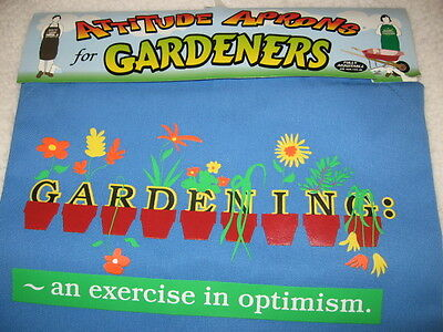 APRON for GARDENER Gardening: An Exercise in Optimism Fits Most Adults Blue New