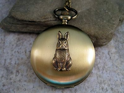 Handmade Large Bronze Bunny Pocket Watch Necklace