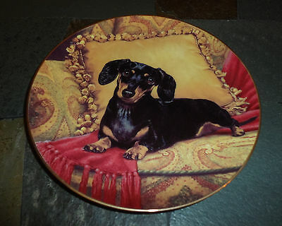 "The Danbury Mint Limited Edition Dachshund Collectors Plate ""Oh, So Comfy"""