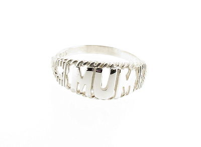 925 Sterling Silver Mum Ring with Hearts Hand Finished Made in the UK RRP £28.99