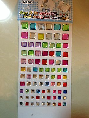 Assorted Colours Rhinestone Gems Self Adhesive Stick on Crystals