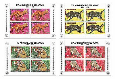 Equatorial Guinea Stamps 1975 WWF Animal Wildlife Fund 4 Sheets / MNH