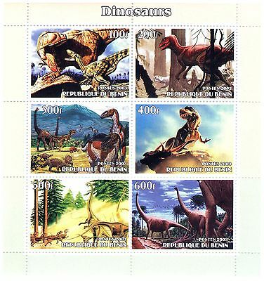 Dinosaurs theme Souvenir sheet of 6 perforated stamps / MNH Stamps 2003
