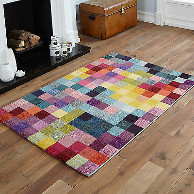 Quality Small To Large Modern Rugs - Geometric Blocks, Pixel Multi Colour Rug