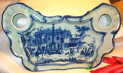 FLOW BLUE, Unique,Old Victoria Ware~Calligrapher Tray, Dish, Scene,Crest on Back