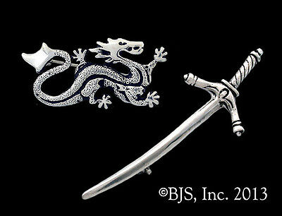Sterling Silver Wheel of Time Pin Set, Asha'man Dragon Pin & Dedecated Sword Pin