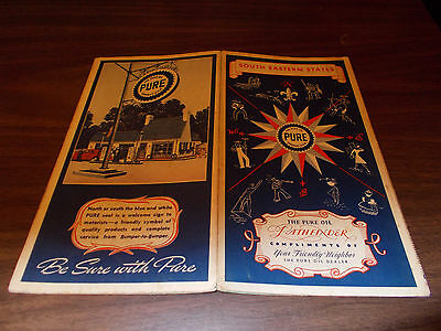 1940 Pure Oil South Eastern States Vintage Road Map / Great Cover Graphics