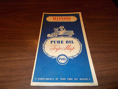 1947 Pure Oil Illinois Vintage Road Map / Great Cover Graphics
