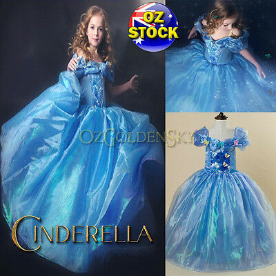 Girls Disney Cinderella Costume 2015 Birthday Party Tutu Princess Dress Up 3-10Y